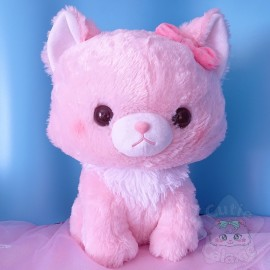 Grande Peluche Fuwaneko Mew Chan Chat Neko Rose BIG Amuse Japon