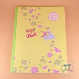 Carnet A4 Winnie L'Ourson Petits Carreaux Look Fruité Citron Disney Japon