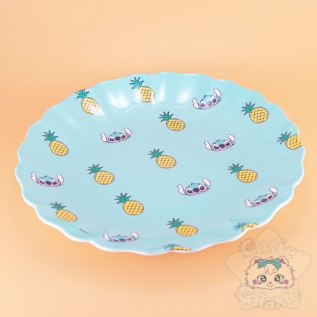 Assiette Stitch Ananas Bordure Ondulée Disney Japon